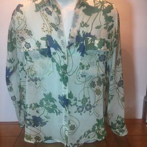 OLIVACEOUS SHEER FLORAL BLOUSE